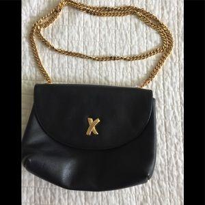 Vintage Paloma Picasso black leather crossbody bag